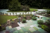 Irregular bluestone patio ~ initital planting layout