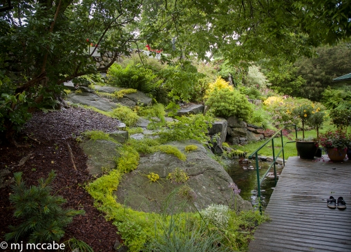 An inviting wooden deck hugs a moss covered ledge—well worn shoes reflect the simple human connection to the garden
